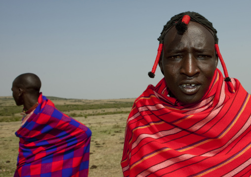 Maasai tribe men portrait wearing traditional clothing, Rift Valley Province, Maasai Mara, Kenya