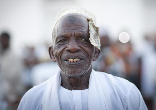 Senior man with kofia portrait at maulidi, Lamu, Kenya