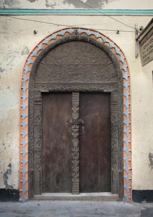 Omani style wooden carved door, Lamu, Kenya