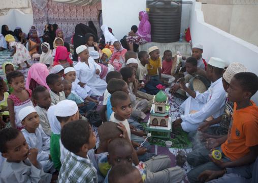 Madrassa coranic school during Maulid festival, Lamu County, Lamu, Kenya
