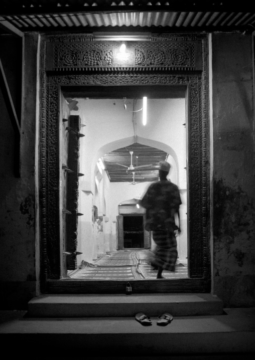 Entrance of the mosque at night, Frame of doorway, Lamu, Kenya
