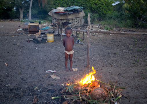 Poor half naked boy in a slum, Firecamp in lamu, Kenya