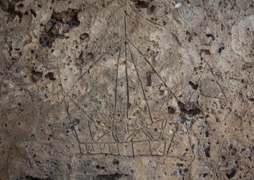Takwa ruins drawing in the rock, Representation of a boat, Lamu, Kenya