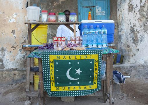 Street seller stall of drinks and candies, Lamu, Kenya