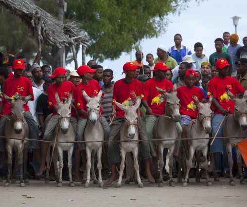 Departure of the donkey race in lamu town during maulidi festival  - kenya