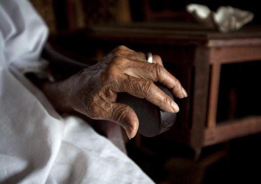 Hand of wood carver of lamu, Kenya