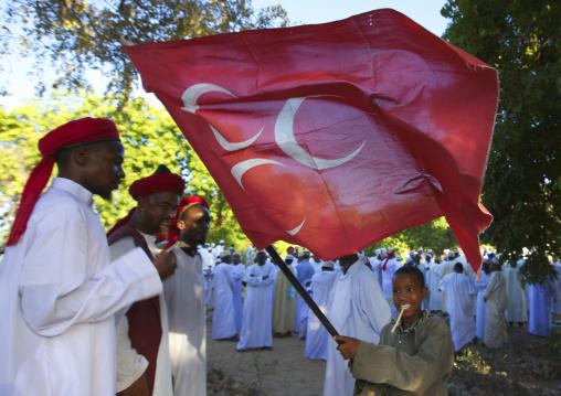 Male procession, Tribute to the shariff, During maulidi festival, Lamu, Kenya