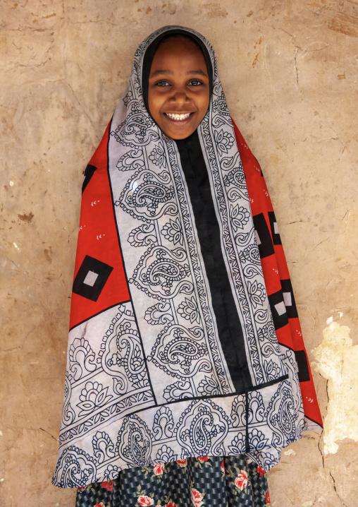 Girl wearing traditional costume, Pate island, Siyu, Kenya