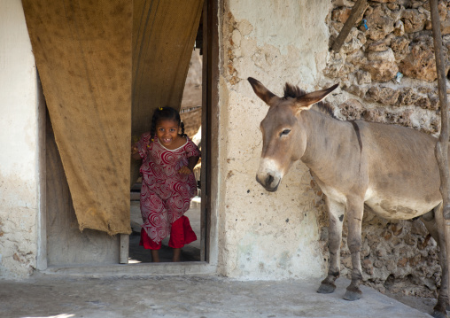 Little girl coming out a house, Donkey parking, Pate island, Kenya