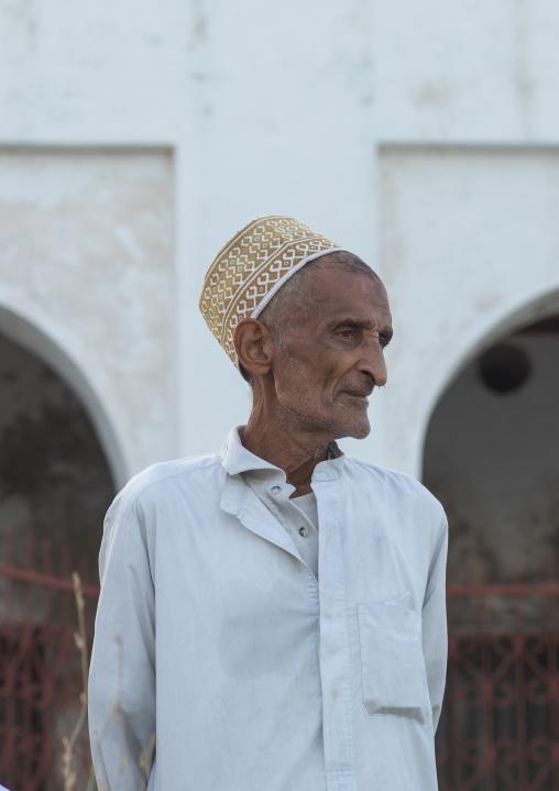 Portrait of a muslim elder wearing a kofia, Lamu county, Lamu town, Kenya