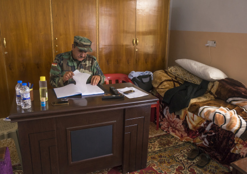 Kurdish General Peshmerga In His Office On The Frontline, Duhok, Kurdistan, Iraq