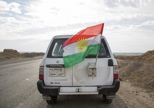 Peshmerga Car With A Kurdish Flag, Kirkuk, Kurdistan, Iraq