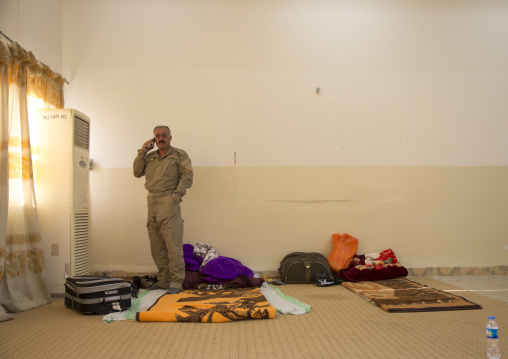 Kurdish Peshmerga Calling On The Frontline, Kirkuk, Kurdistan, Iraq