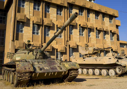 Tank In The Red Security Building, Suleymanyah, Kurdistan, Iraq