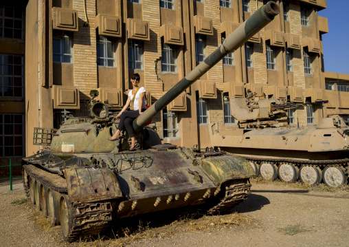 Tourist On A Tank In The Red Security Building, Suleymanyah, Kurdistan, Iraq