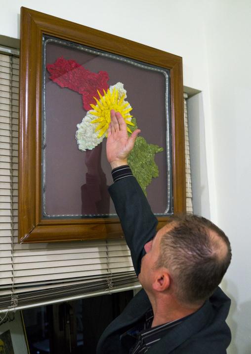 Man Showing Kurdistan Map, Suleymanyah, Kurdistan, Iraq
