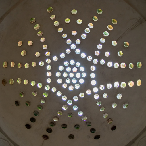 Ceiling with its intricate and elaborate patterns and internal stainless glass dome in Ezzeddine hamam, North Governorate, Tripoli, Lebanon