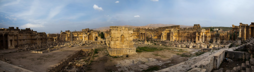 Panoramic view of the great court of the temple complex, Beqaa Governorate, Baalbek, Lebanon