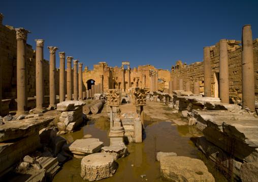 Ancient ruins of new basilica in leptis magna, Tripolitania, Khoms, Libya