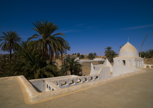 Old white mosque made of mud brick, Tripolitania, Ghadames, Libya