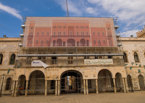 Italian colonial building renovation, Cyrenaica, Benghazi, Libya