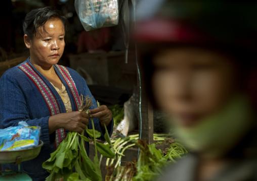 Woman selling vegetables on a market pakse, Laos