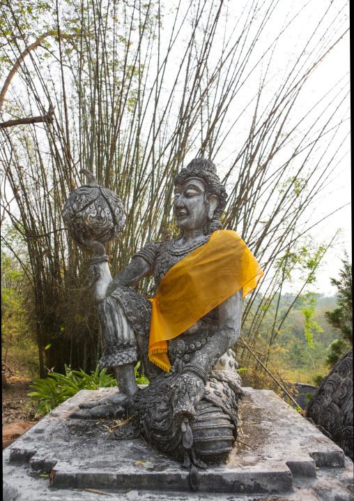 Statue in a buddhist temple, Champasak, Laos