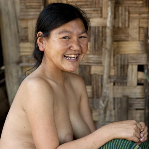 Topless akha minority woman, Muang sing, Laos