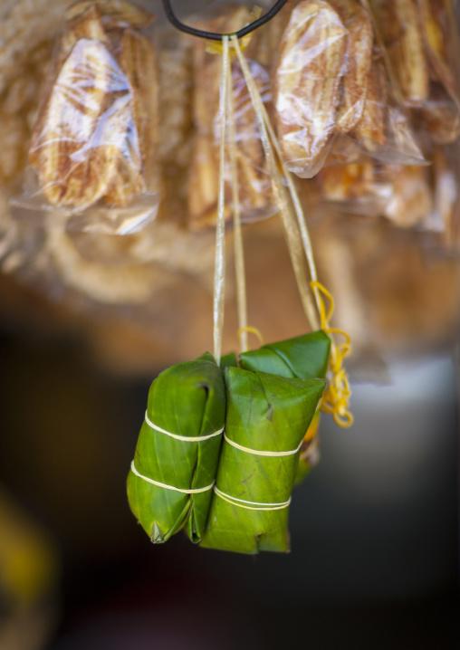 Religious offerings in a temple, Phonsavan, Laos