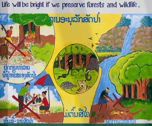 Ecology propaganda poster, Vientiane, Laos