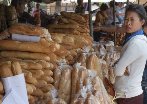 French baguettes bread seller, Vientiane, Laos