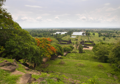Overview of middle level of wat phu, Champasak, Laos