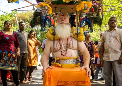 Carl, An Australian Hindu Devotee Carrying A Kavadi In Annual Thaipusam Religious Festival In Batu Caves, Southeast Asia, Kuala Lumpur, Malaysia