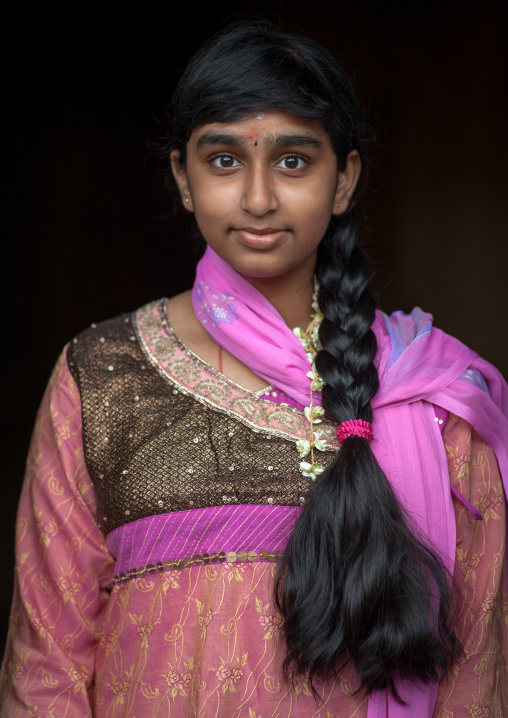 Portrait Of A Girl With Long Hair In Batu Caves In Annual Thaipusam Religious Festival, Southeast Asia, Kuala Lumpur, Malaysia