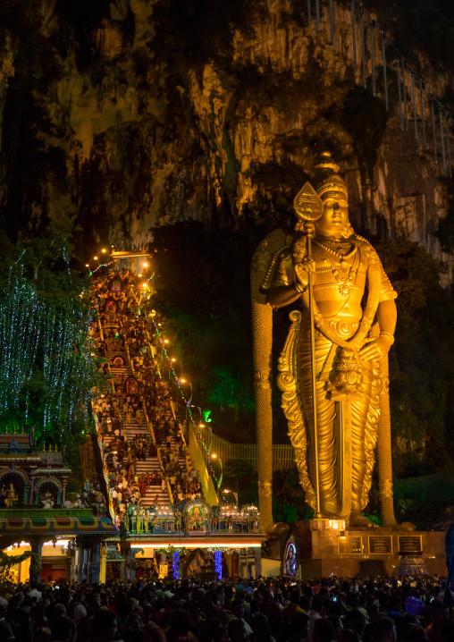 Murugan Statue At Night During The Thaipusam Hindu Festival At Batu Caves, Southeast Asia, Kuala Lumpur, Malaysia
