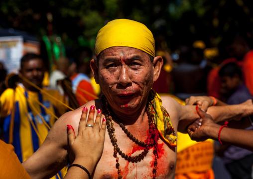 A Devotee During The Thaipusam Hindu Festival At Batu Caves, Southeast Asia, Kuala Lumpur, Malaysia