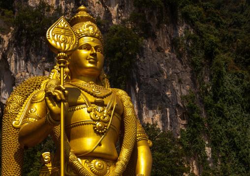 Murugan Statue During The Thaipusam Hindu Festival At Batu Caves, Southeast Asia, Kuala Lumpur, Malaysia