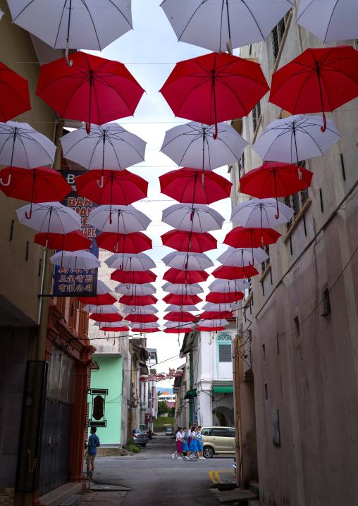 Red And White Umbrellas Above Street, Perak State, Ipoh, Malaysia