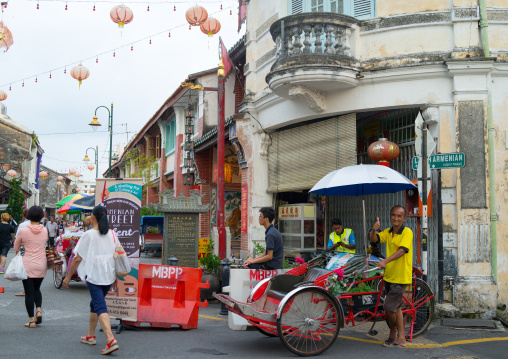 Rickshaw Waiting For Tourists In Chinatown, Penang Island, George Town, Malaysia