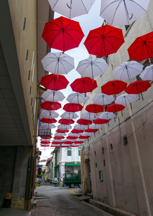 Red And White Umbrellas Above Street, Perak State, Ipoh, Malaysia