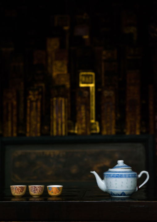 Tea Offerings In A Chinese Temple, Penang Island, George Town, Malaysia