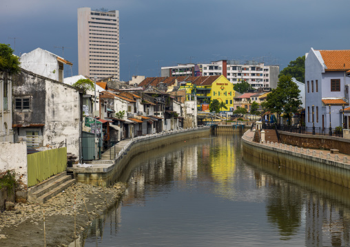 Malacca River With Row Of Heritage Shop Houses, Malacca, Malaysia