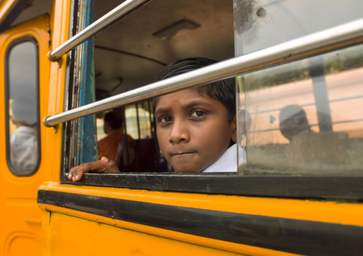Boy At The Window Of School Bus, George Town, Penang, Malaysia