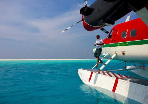 Maldivian Air Taxi Seaplane At Soneva Fushi Hotel, Baa Atoll, Maldives