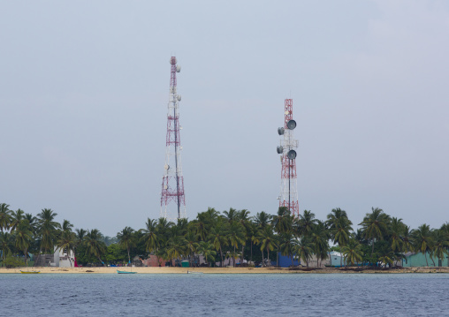 Mobile Phone Antennas, Eydhafushi Island, Baa Atoll, Maldives