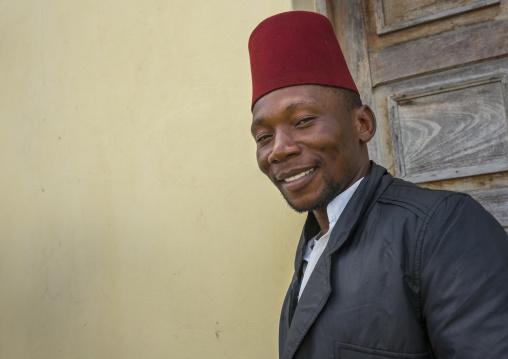 Muslim Man With A Red Hat, Inhambane, Inhambane Province, Mozambique