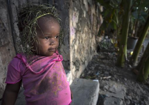 Little Kid With Grass Crown, Ilha de Mocambique, Nampula Province, Mozambique