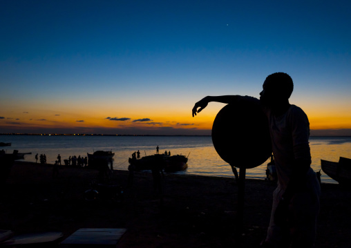 Man In The Sunset, Island Of Mozambique, Mozambique
