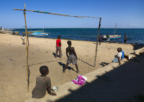Kids Playing Football On The Beach, Island Of Mozambique, Mozambique
