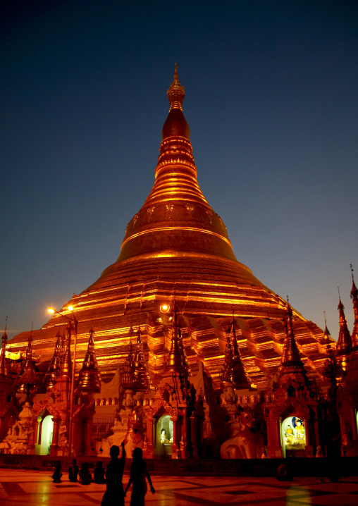 Shwedagon pagoda at night, Rangoon, Myanmar
